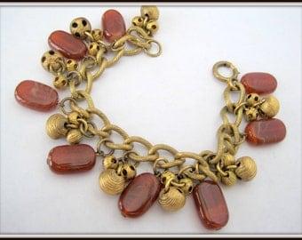 Chunky Agate Charm Bracelet - Gold Tone Links- cha cha bracelet - carnelian chunks