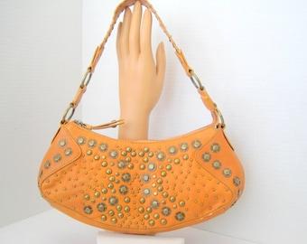 Tan Leather Purse - Brass Riveted - Labeled Wilsons - Vintage Handbag