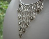 LISTING FOR SUE, Industrial Boho Style Fringe Bib Statement Necklace, Modern Boho, Curved Bar, Bohemian Jewelry