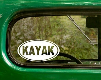 Kayak Decal, 2 For 1, Car Decal, Kayaking Sticker, Euro Style Decal, Laptop Sticker, Oval Sticker, Bumper, Vinyl Decal, Car Sticker