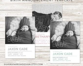 Photo Birth Announcement, Custom Template, Modern Oh Baby Birth Announcement, Digital Birth Announcement, Baby Boy, Baby Girl