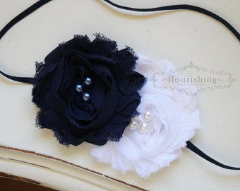 Navy and White Chiffon flower headband, navy blue headbands, baby flower headbands, photography prop