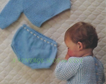 Baby Boy  / Toddler  4ply  and DK Jumper and shorts  for sizes 19 and 21 ins - PDF of Vintage Knitting Patterns - Instant Download