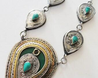Turquoise Tribal Ethnic Necklace