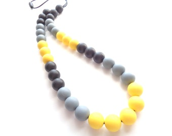 Silicone Necklace, Teething Necklace, Nursing Necklace, Yellow Necklace, Baby Wearing, Birth Gift, New Mom Gift, Baby Shower Gift, Mom Gift