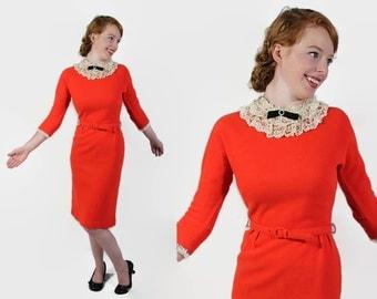 50s 60s Wiggle Dress / Bobbie Brooks / Orange / Embellished