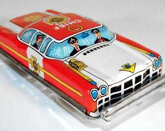 Vintage Tin Friction Fire Dept. Chief Sedan by Nakamura, Japan, 1950s NOS