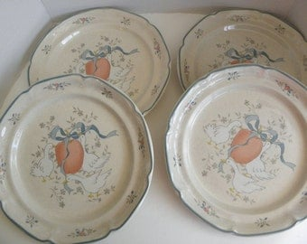 s/4 Marmalade International China STONEWARE Ducks SALAD  / Dessert Plates