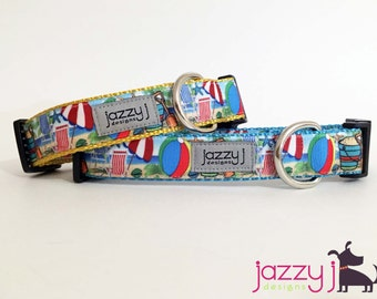 Summer Sandcastles Beach Dog Collar