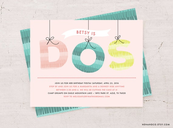 DOS! Mexican Piñata Themed Birthday Party Invite // Digital or Printed Party or Shower Invite