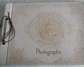 Vintagee Photo Album 16 Pictures Great Condition Cream  Leather Embossed Horse Tie Bound