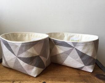 Pink Gray Geometric Storage, Small Fabric Basket, Cute Fabric Bin, Gadget Case, Essential Oil Storage, Teabag case