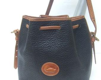 DOONEY & BOURKE Black Pebble Leather Shoulder Bag (Genuine)