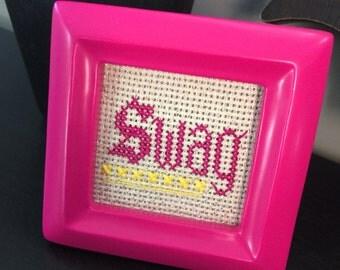 Mini Pink Framed Sparkle Cross Stitch - Swag