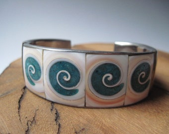 Vintage Shell Inlay Cuff Bracelet