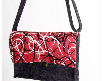 WOOL felt bag anthracite / red-white-black
