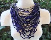 Indigo Blue & Gray Leather Multi-strand Necklace