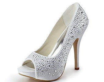 Women's Shoes with Rhinestones Satin heel peep toe