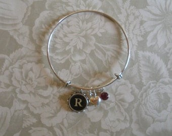 Vintage Typewriter Key Bangle Bracelet with Heart Charm and Swarovski Crystal--Your Choice of Letter-- and --Your Choice of Crystal--