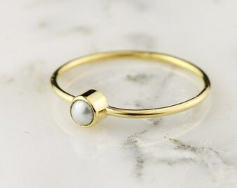 Solid 14k or 18k Gold Pearl Stacking Ring / Thin Pearl Ring