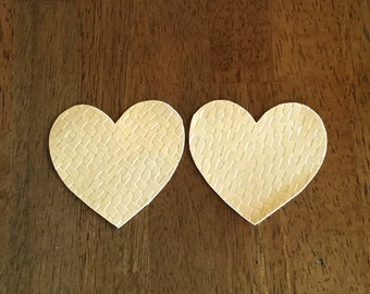 Metallic Vinyl Gold Heart Patches with Texture