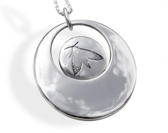 Sterling Silver Pendant, Silver Jewelry, Moth Pendant.