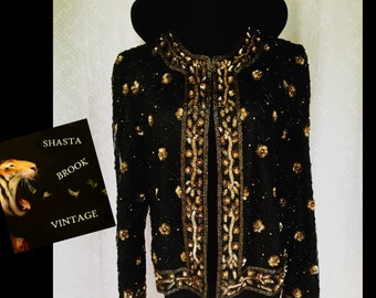 Vtg Black and Gold Silk Beaded Trophy Jacket - Sheer Silk Sequin Trophy Top Trophy Blouse - 80s Beaded Blouse - Womens Medium Large