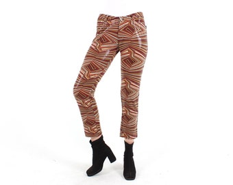 Psychedelic Sequin Metallic Y2K Babe Millenium 00s Bootcut Skinny Rave Pants / Flares