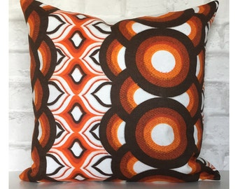 "Vintage Retro 70s Orange Psychedelic Cushion Cover 16"" x 16"""