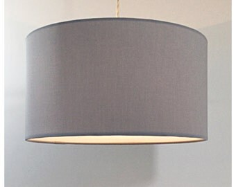 Large Oversized 45cm Drum Grey Lightshade With Diffuser