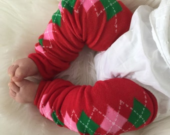 Pink and Green Argyle Baby Legs / Christmas Leg Warmers