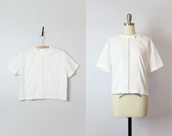 vintage 60s white cotton blouse / 1960s pleated eyelet blouse / button back blouse / classic white cotton shirt / boxy bow neck blouse