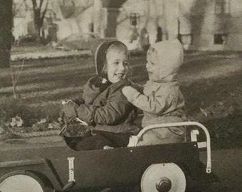 Large Original Antique Photograph Car Ride
