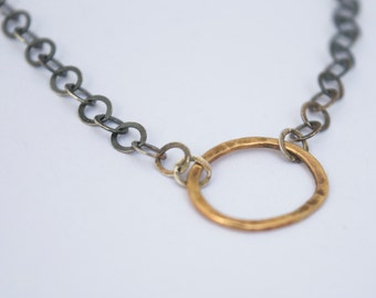 Gold and silver chain/9ct gold and silver chain/ hammered gold and oxidised silver chain