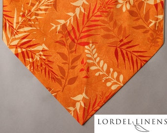"Orange Table Runner, Ferns in Shades of Orange on Orange Background, 36"" Table Runner, Orange Home Decor, Small Table Runner"