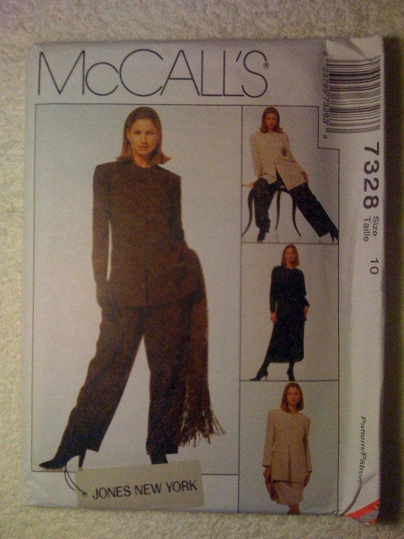 McCalls Sewing Pattern 7328 90s Uncut Misses Lined Jacket, Tunic, Skirt and Pull On Pants Size 10