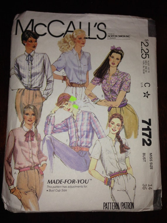 Misses Buttoned Shirts McCalls Vintage Sewing Pattern 7172 80s Size 14