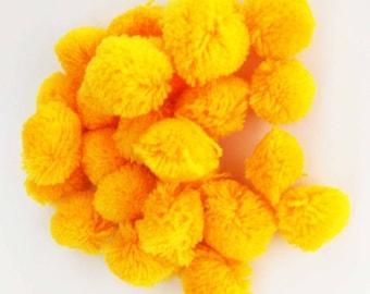 Sunny Yellow Medium Pom Poms 25 - Colors Craft Supply Pompoms - Hanging Pom Poms - Party Pom Poms - Yarn Pompoms Handmade Mini Pom Poms