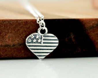 I Love America Necklace - Sterling Silver American Flag Heart Pendant Necklace, Fourth of July, Patriotic Jewelry, Gift for Her Under 40