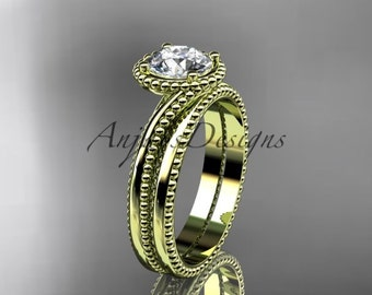 14kt yellow gold wedding ring, engagement set ADLR389S