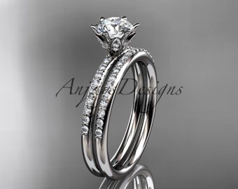 14kt white gold diamond unique engagement set, wedding ring ADER145S