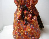 Red Gold Festive Drawstring Bag with Handle, Knitting Crochet Bag,  Project Craft bag