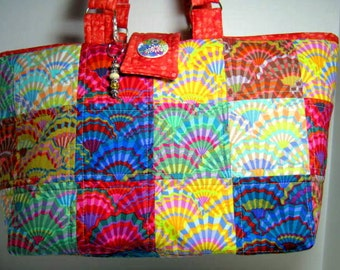 Patchwork Yarn Organizer Quilted Tote Kaffe Fassett Fabrics, Project Craft Library Book Bag, Market Tote Bag