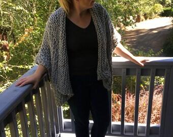 Chunky Knit Sweater Wrap Gray / Grey
