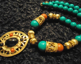 Vintage 1980s Boho Gold Pendant Necklace with Multi Colored Beads