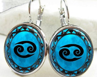 Cancer Symbol Zodiac Earrings, Cancer Horoscope Earrings (ER0461)