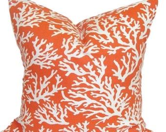 BEACH DECOR.20x20 inch.Pillow Cover.Orange Decorative Pillows.Coral Pillows.Orange Outdoor Pillow.Throw Pillow.Housewares.Nautical.Beach.