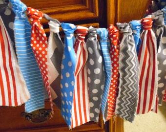 Rag Tie Banner, Cat In The Hat Rag Tie Banner, Rag Tie Garland, Red, Aqua Blue, Grey, Gray, Chevrons, Dots, Stripes
