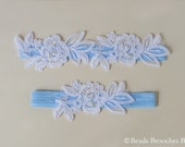 Blue Garter Something Blue Wedding Garter,Blue Garter with White Flower Lace Wedding Garter,Blue Bridal Garter,Blue Garer Set, Ivory Garter