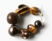 African Beads, Handmade Beads, Ceramic Beads, beads from Africa, brown, caramel, copper lustre beads